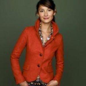 J. CREW Bella Herringbone Wool Jacket Orange 8